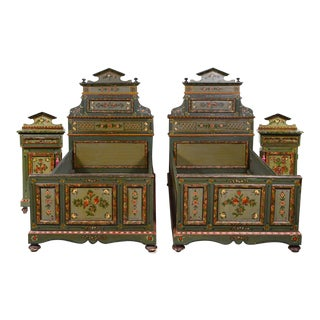 Antique French Italian Beds & Nightstands - Set of 4