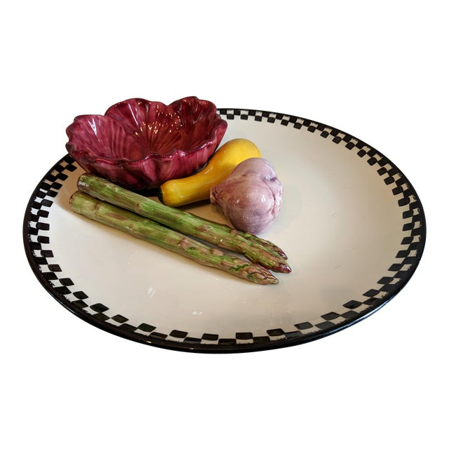 Majolica Palissy Style Ceramic Serving Platter For Sale