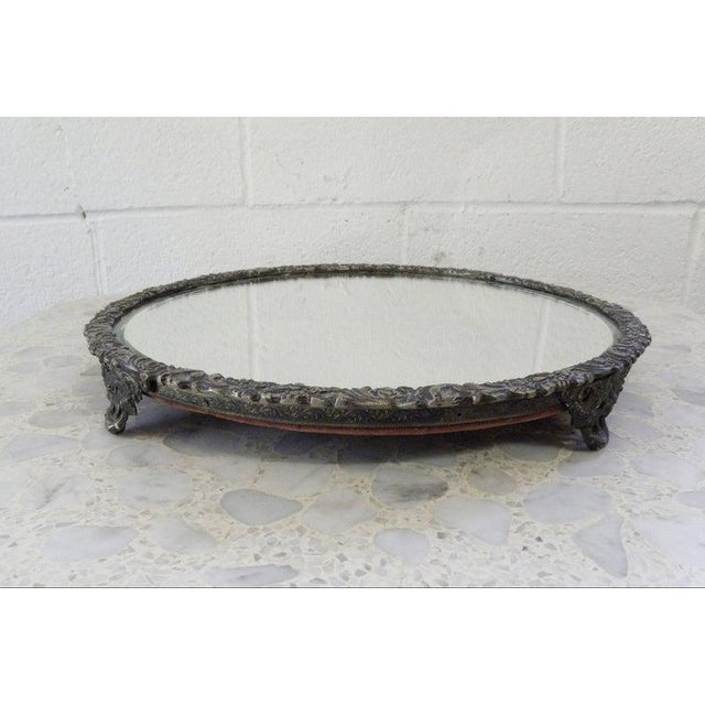 1960s Vintage Mid Century Silver Mirror Dressing Vanity Tray For Sale - Image 5 of 7