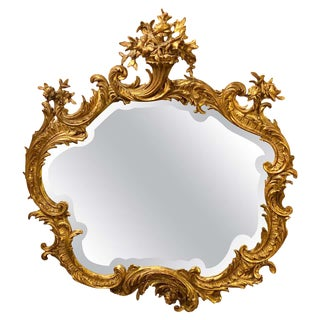 Louis XVI Style Mirror Over the Mantel Wall or Console Beveled Glass For Sale
