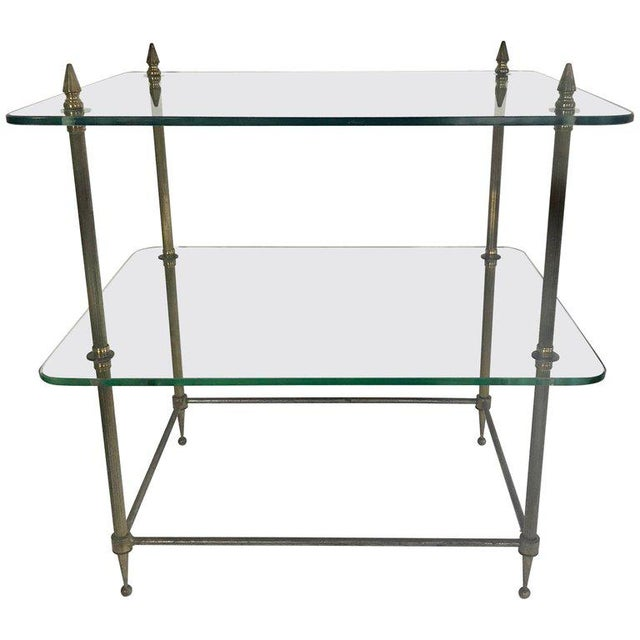 Two-Tiered Glass and Brass Side Table For Sale - Image 11 of 11