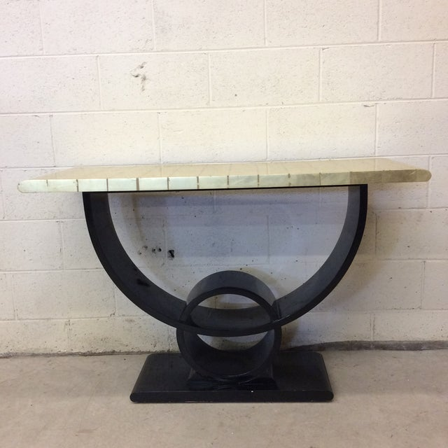 Black Lacquer & Gold Leaf Deco Style Console Table For Sale - Image 10 of 10