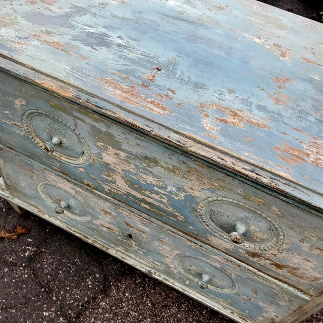 19th century Swedish chest with original scraped paint and two drawers. Beaded detail around drawer pulls and square...