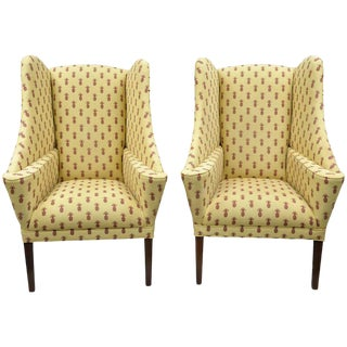 Late 20th Century Custom Pineapple Printed Yellow Fabric Wingback Chairs- A Pair For Sale