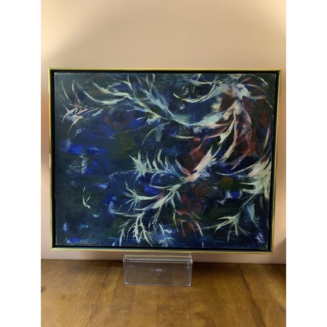 Abstract Mid-Century Modern Abstract Original Floral Oil on Canvas Painting in Gold Metal Frame For Sale - Image 3 of 13