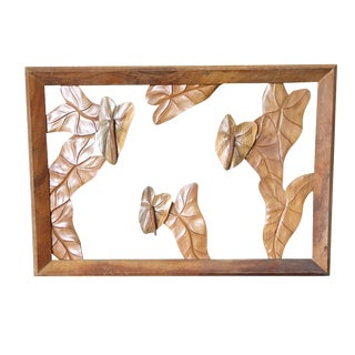Large Hand Carved Koa Wood Anthurium Wall Art For Sale