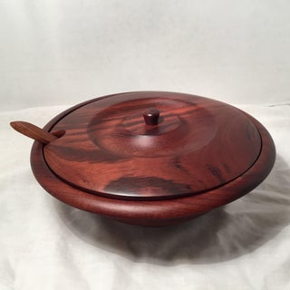 Stained Wooden Bowl With Lid & Spoon Preview