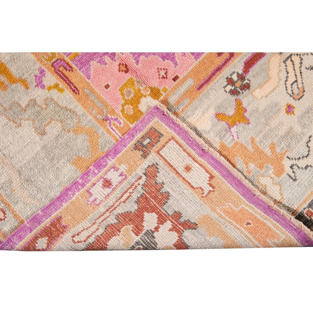 21st Century Contemporary Modern Oushak Wool Rug For Sale - Image 4 of 13