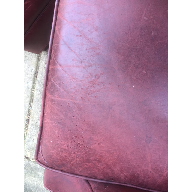 Art Deco Style Vintage Leather Chair & Ottoman - Image 9 of 9
