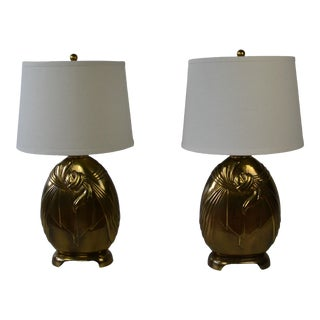 Art Deco Style Brass Table Lamps S/2 For Sale