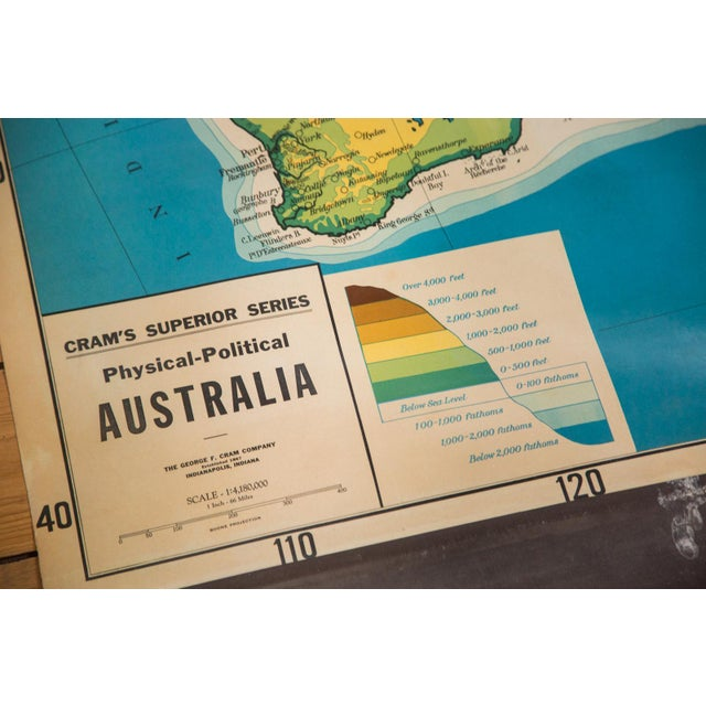 1930s vintage pull down map of Australia from Cram's Superior Series. This map is from a series of washable markable...