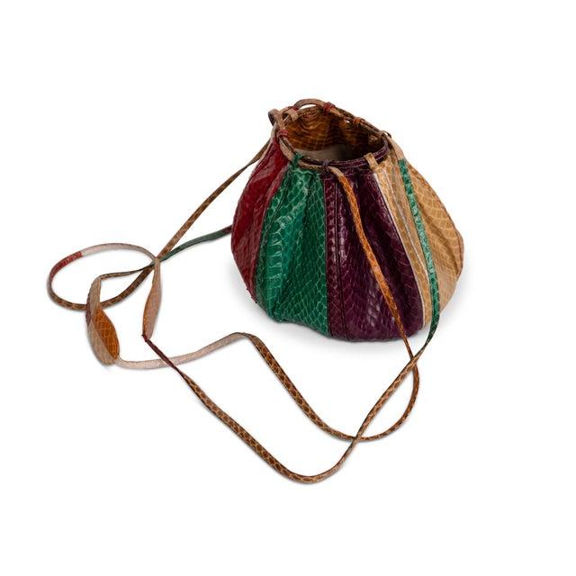 1980s 1980s Judith Leiber Multicolored Snakeskin Beach Ball Shoulder Bag For Sale - Image 5 of 8