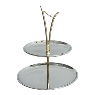 Mid Century Modern Kromex Two Tiered Chrome Tray For Sale
