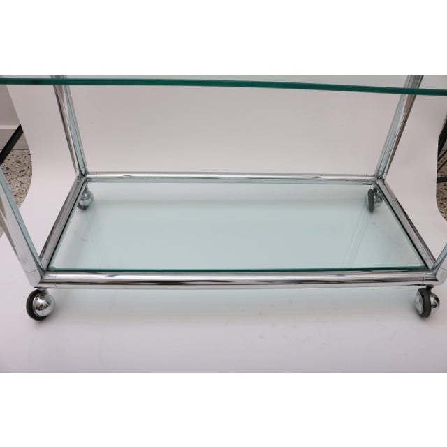 Mid-Century Modern Polished Chrome & Glass Bar Cart by Pace For Sale - Image 3 of 10