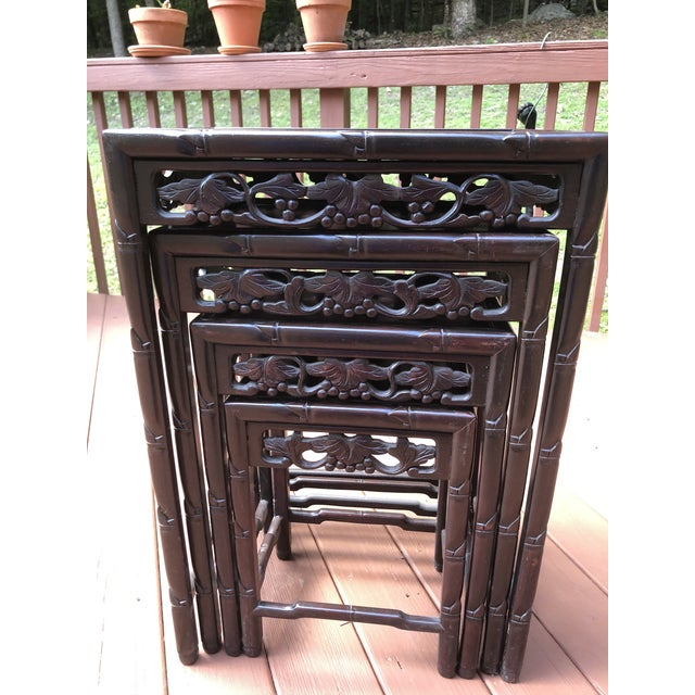Four beautiful Asian Nesting Tables. They all fit underneath each other Dimensions ****all in inches Largest Table 19.5W X...