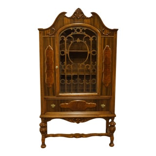 1940s English Revival Jacobean Walnut Cupboard / Storage Cabinet For Sale
