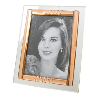 French Midcentury Clear and Copper Pink Mirror Picture Photo Frame For Sale