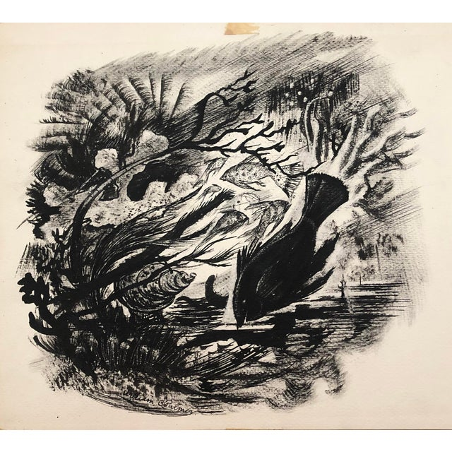 Under the Sea en Grisaille Ink Wash by William Palmer, C. 1940s For Sale