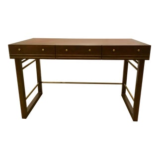Currey & Co. Modern Leather Top Wood Writing Desk For Sale