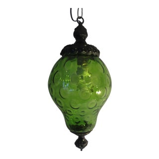 Vintage Mid-Century Green Swag Lamp Hanging Light Art Glass Retro Black Fixture