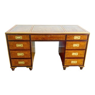 Baker Furniture Leather Top Double Sided Desk For Sale
