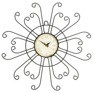 Lanshire Curled Iron Sunburst Clock, Circa 1950 For Sale