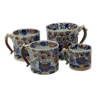 Early Mason's Jardinière Ironstone Cider Mugs Tankards 1815-1830 - Set of Four For Sale