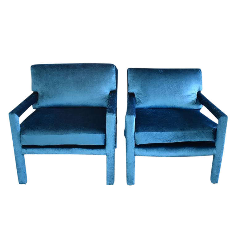 Vintage Used Navy Blue Club Chairs Chairish