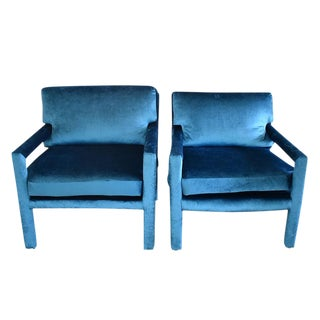Mid-Century Blue Velvet Open Arm Club Chairs - a Pair in the Style of Milo Baughman For Sale