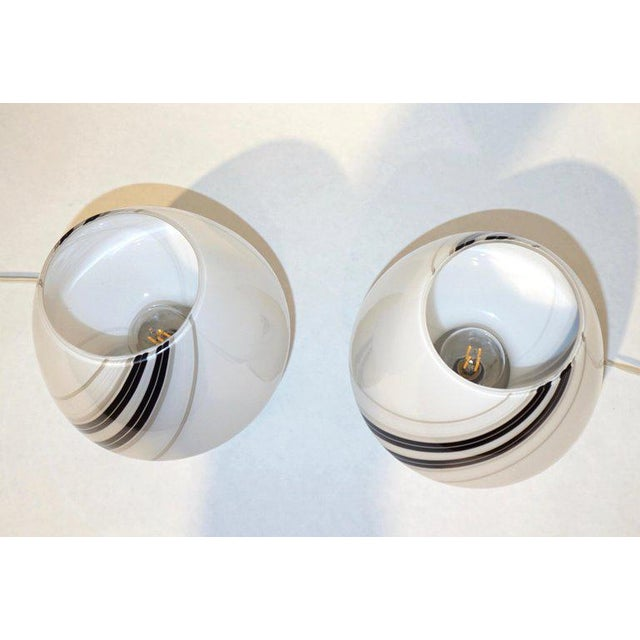 Glass 1970s Italian White Lamps With Black Gray Murrine Attributed to Vistosi - a Pair For Sale - Image 7 of 8