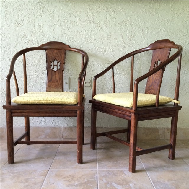 Asian Henredon Horseshoe-Back Chairs - A Pair For Sale - Image 3 of 9