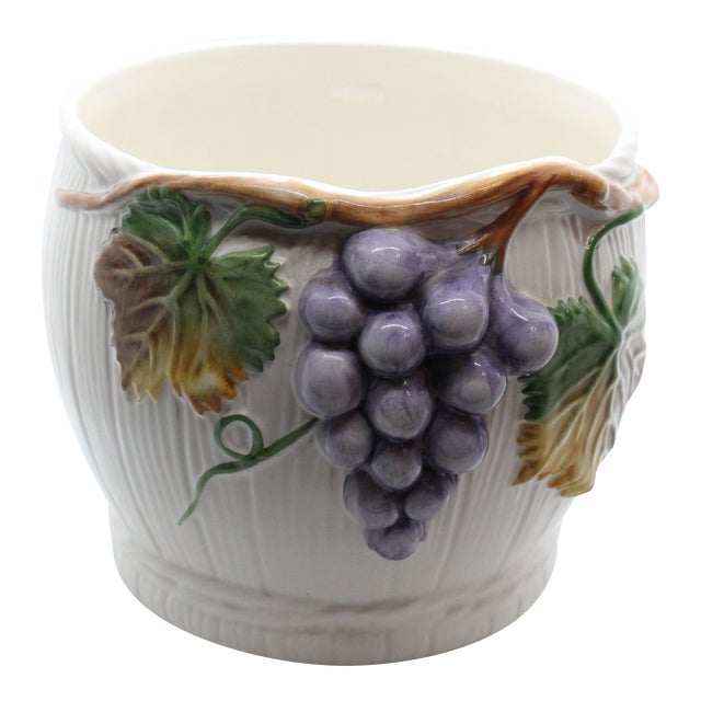 "Majolica Glazed Ceramic Grapevine ""Vineyard"" Cachepot/ Wine Cooler For Sale"