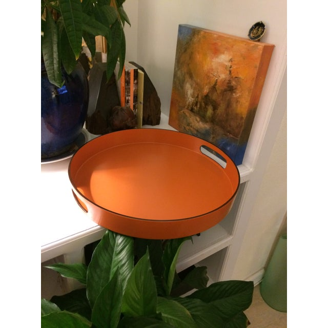 Hermes Style Orange Lacquer Serving Tray - Image 6 of 10