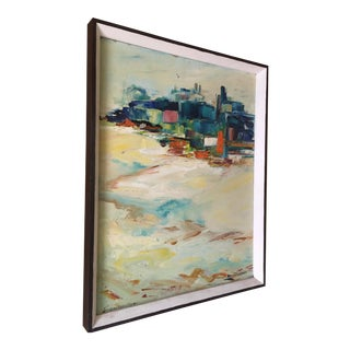 Abstract Painting Oil on Canvas by Lida Giambastiani Tel Aviv Cityscape 1960's