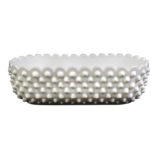 Fenton Hobnail Milk Glass Oval Shape Dish Bowl For Sale