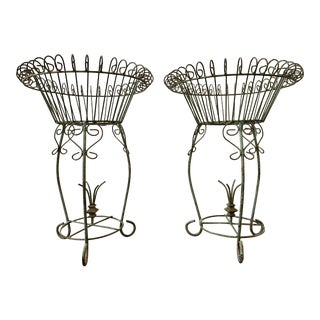 Early 20th Century Art Nouveau Iron Plant Stands - a Pair For Sale