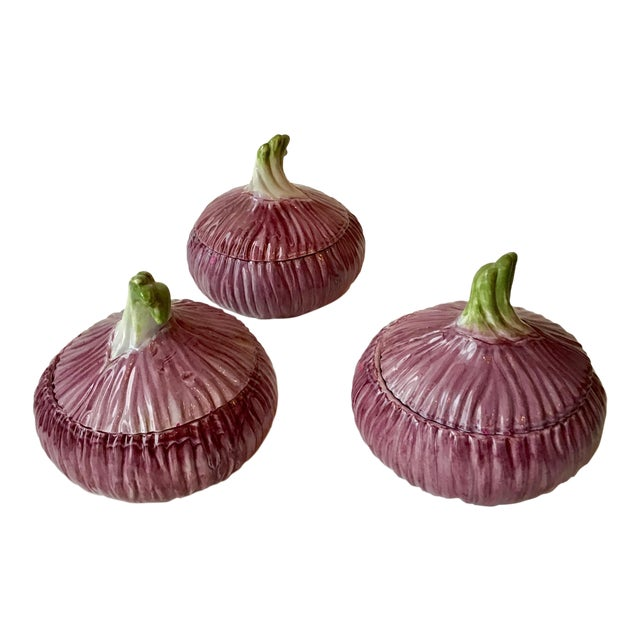 Italian Majolica Mini Purple Onion Tureens for Neiman Marcus - Set of 3 For Sale