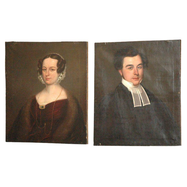 Antique Portraits - A Pair For Sale