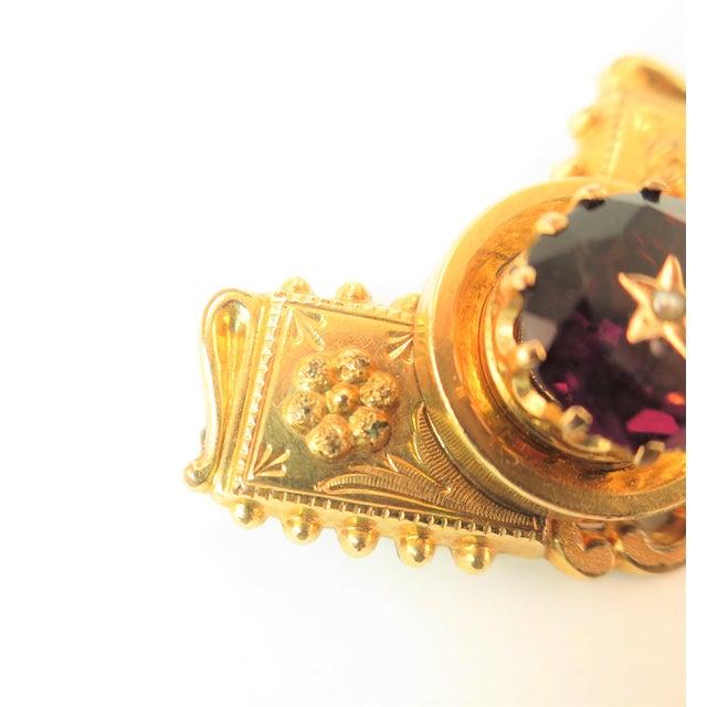 Metal Georgian 10k Gold Carved Amethyst Brooch1830 For Sale - Image 7 of 13