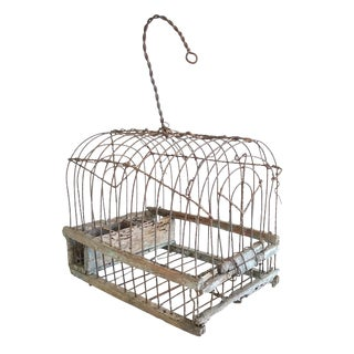 Antique Handmade Wood & Wire Cage For Sale