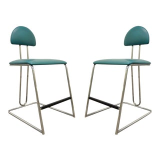 Vtg Pair Loewenstein Modern Memphis Style Blue Chrome Counter Bar Stools Chairs For Sale