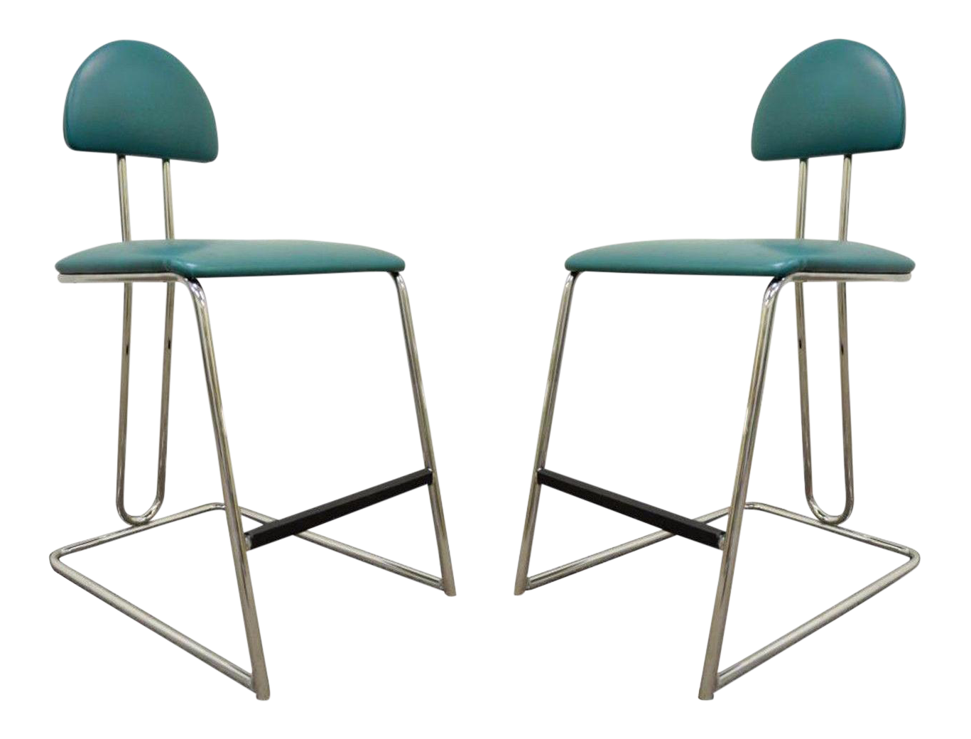 Vtg Pair Loewenstein Modern Memphis Style Blue Chrome Counter Bar Stools  Chairs