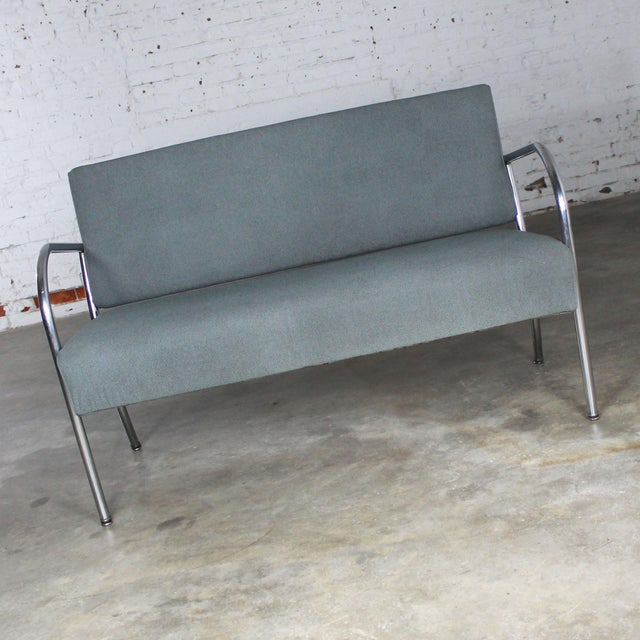 Art Deco Art Deco Machine Age Streamline Moderne Royal Metal Co. Chrome and Upholstered Bench Sofa For Sale - Image 3 of 11