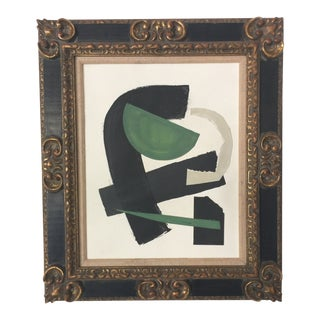 Abstract Painting Collage Black and Green For Sale