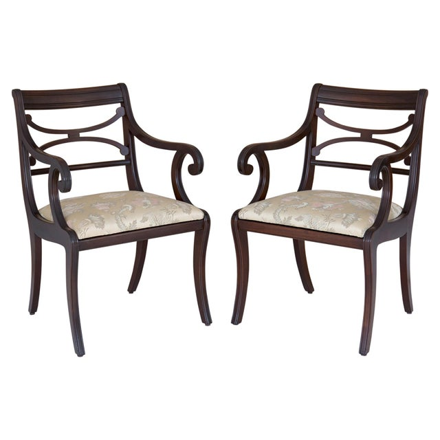 Regency Scrolled Armchairs - A Pair - Image 8 of 8