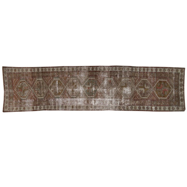 """Vintage Distressed Caucasian Rug Runner - 2'9"""" X 11'1"""" For Sale"""
