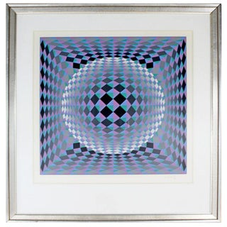 Mid-Century Modern Vasarely Framed Geometric Circle Pop Op Art Serigraph Signed For Sale