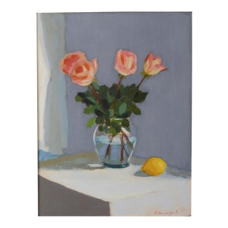 Pink Roses with a Lemon by Anne Carrozza Remick