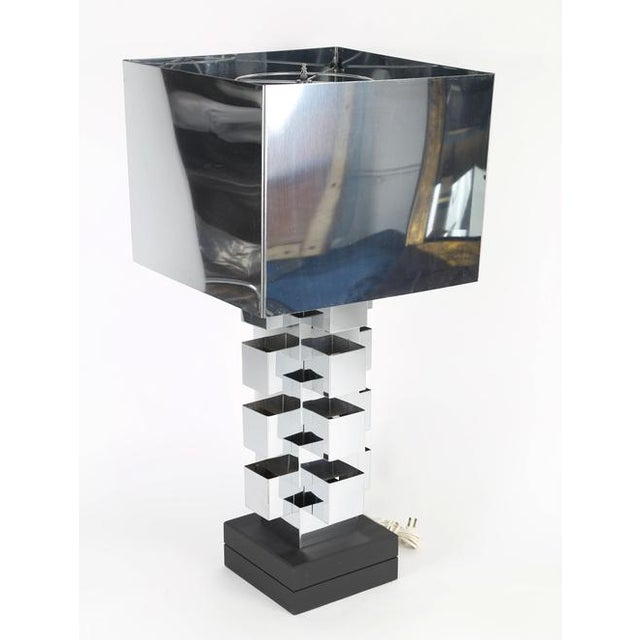 Large 1970s all-chrome table lamp by C. Jeré/Artisan House. The lamp body, illuminated by a bulb within, is made of...