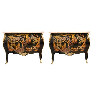 Pair of Marble-Top Chinoiserie Bronze-Mounted Commodes / Dresser Possibly Jansen For Sale